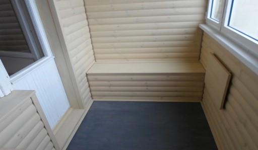 Отделка балкона имитацией бруса - фото