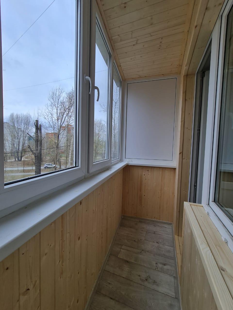 Остекление и обшивка балкона Гаврилова 40 - фото