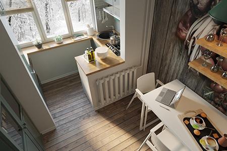 Совмещение балкона и лоджии с кухней - фото