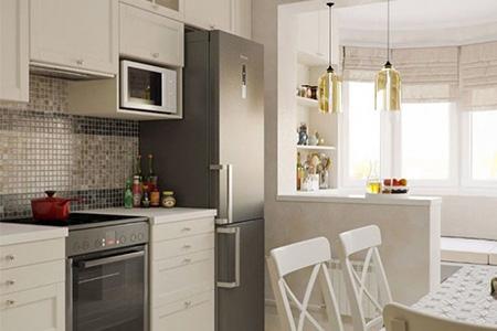 объединение балкона с кухней фото